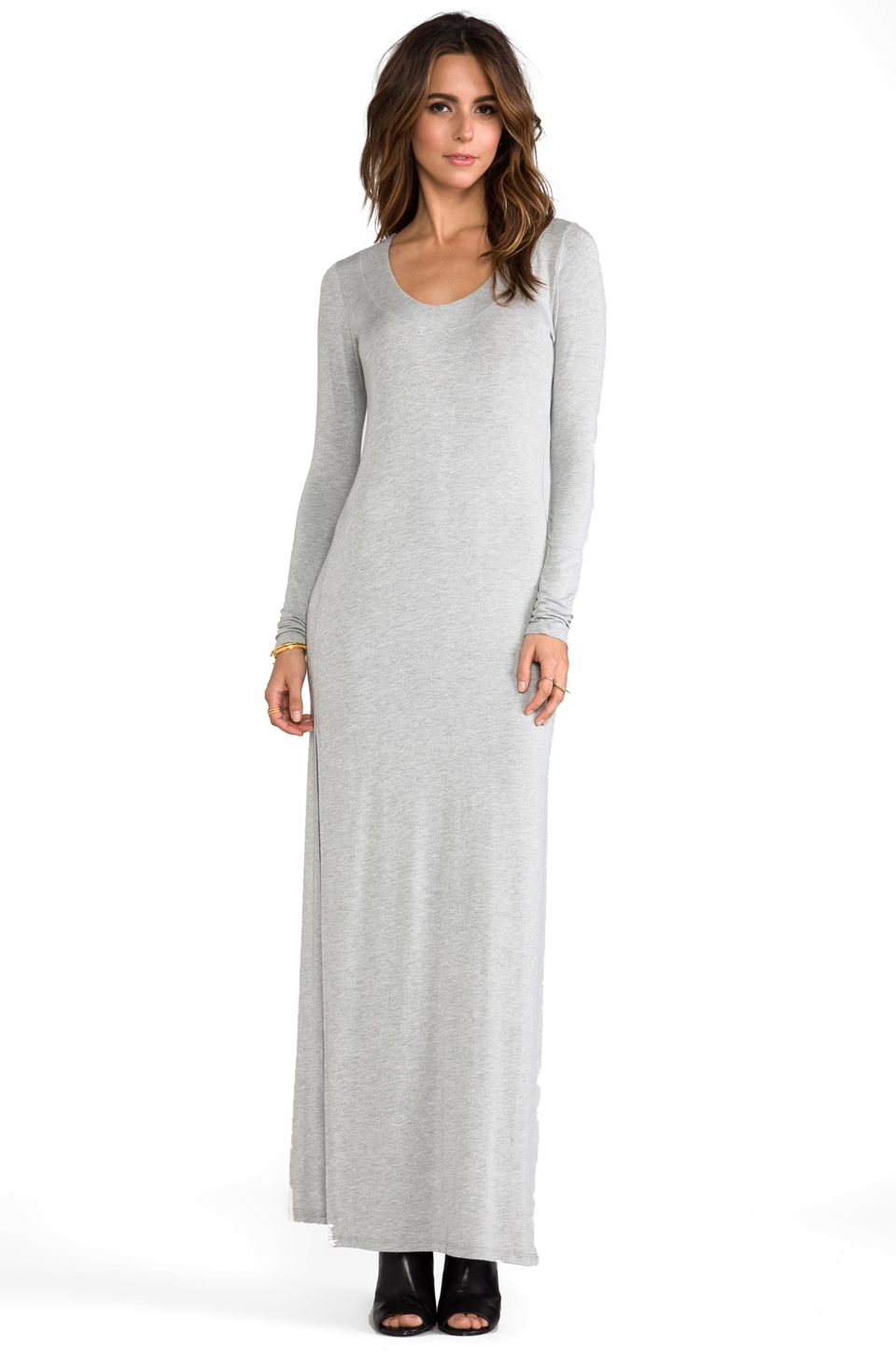 LA Made Deep Neck Maxi with Side Slits in Heather Grey