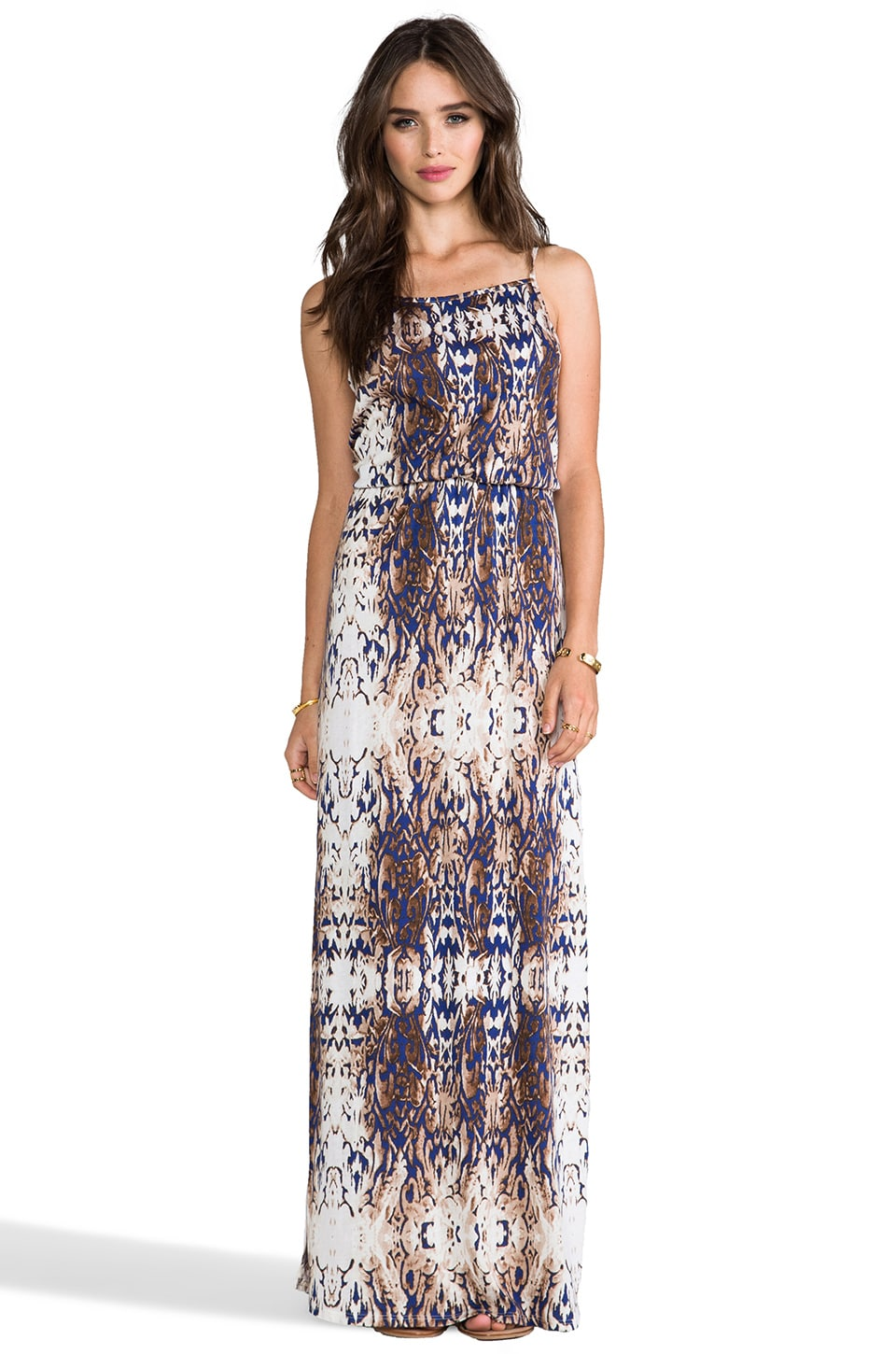 LA Made Double Slit Maxi Dress in Midnight Glow & Natural