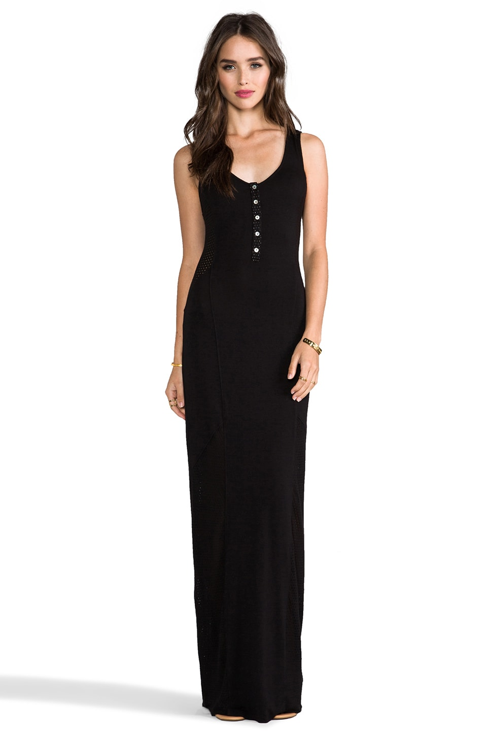 LA Made Scoop Henley Maxi Dress in Black