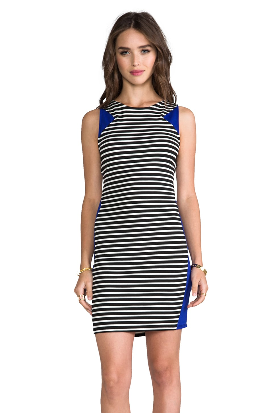LA Made Colorblocked Bodycon Dress in Stripe & Midnight Glow