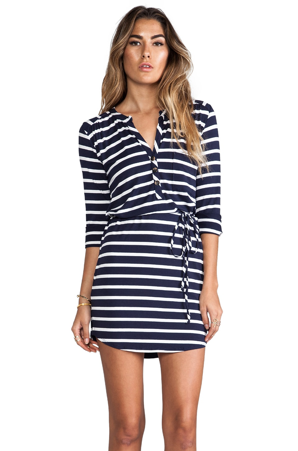 LA Made Classic Stripe Henley Dress in Navy & White