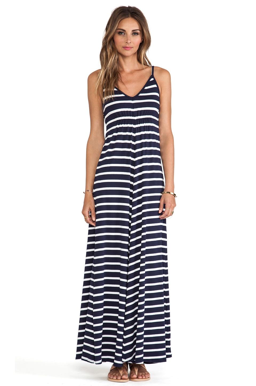LA Made Classic Stripe Cami Maxi Dress in Navy & White