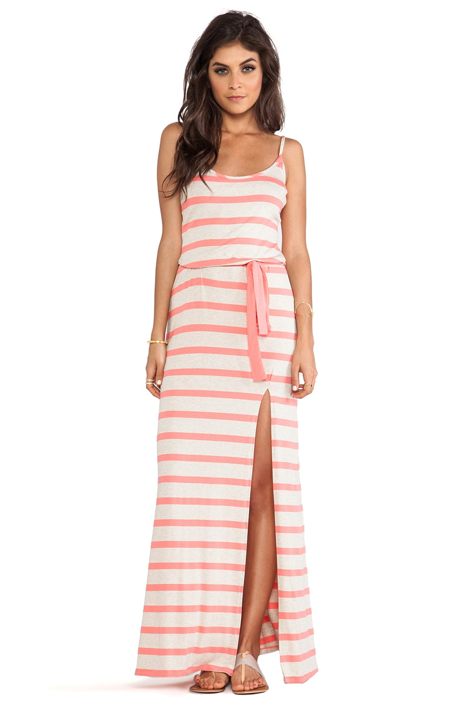 LA Made Stripe Side Slit Tank Dress in Grapefruit Stripe