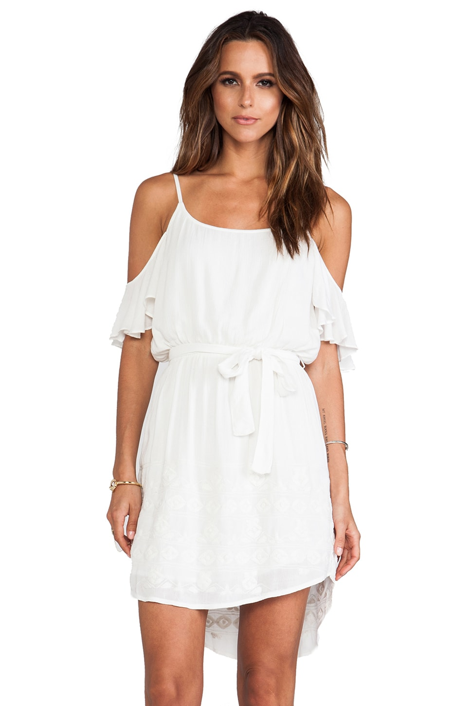 LA Made Flutter Sleeve Dress in White
