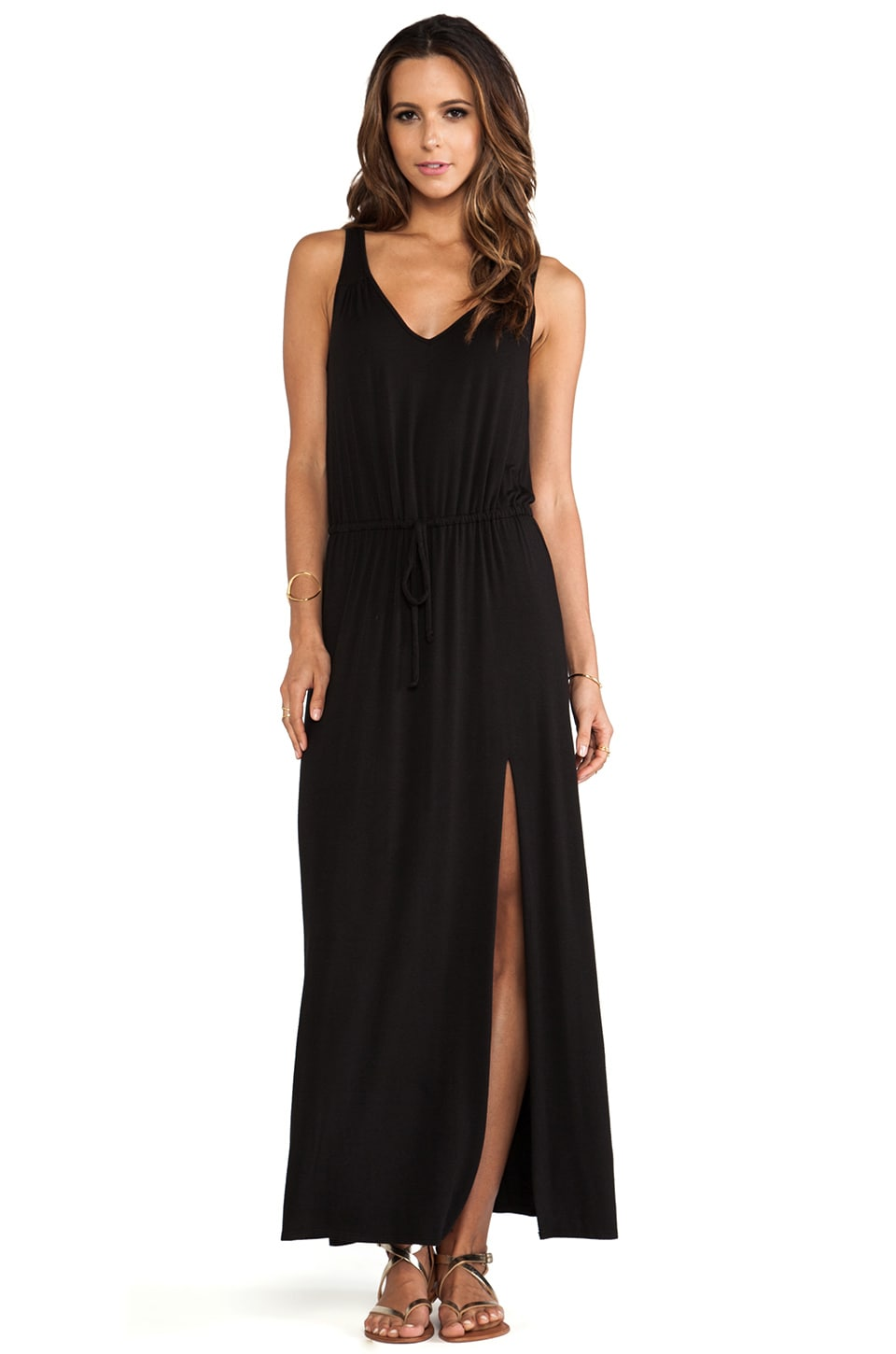LA Made V Back Tie Maxi Dress in Black