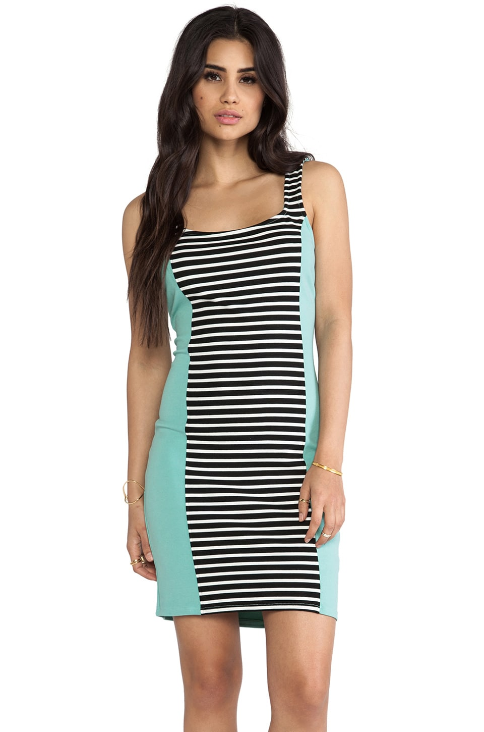 LA Made Colorblocked Stripe Bodycon Dress in Stripe & Mint
