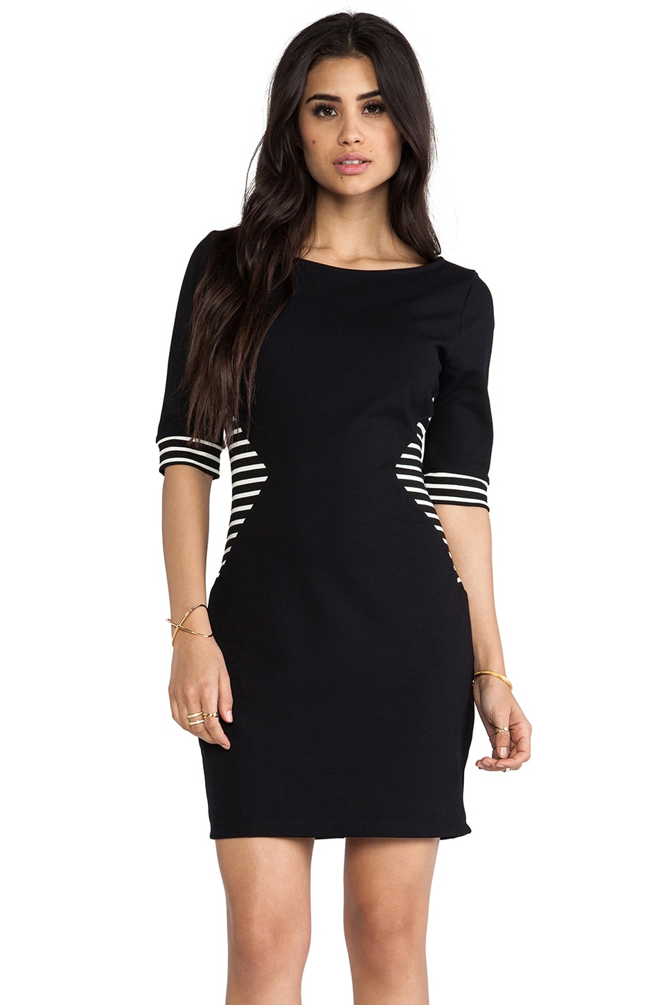 LA Made Colorblocked Striped Boatneck Elbow Sleeve Dress in Stripe & Black