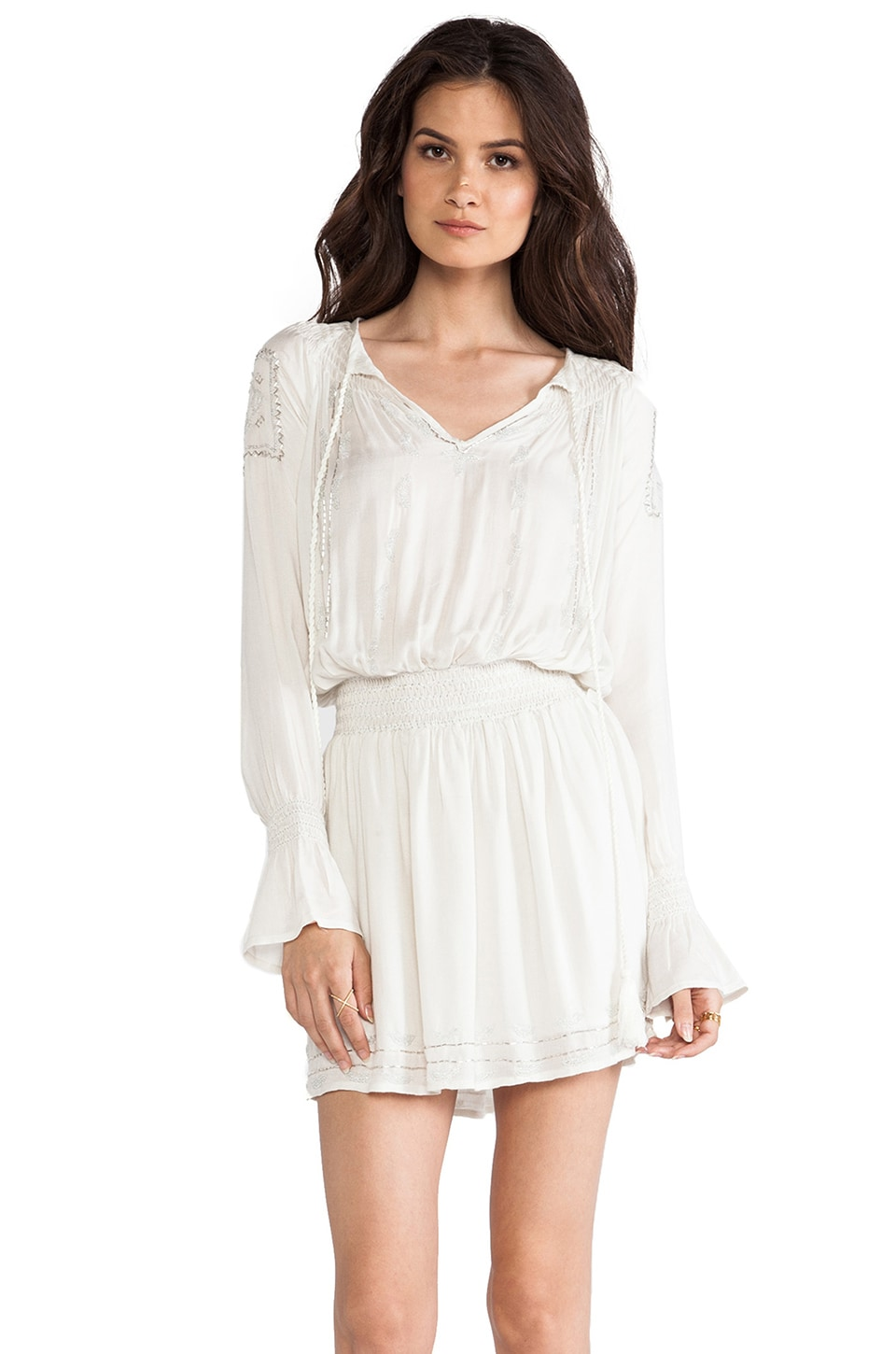 LA Made Peasant Dress in Off White
