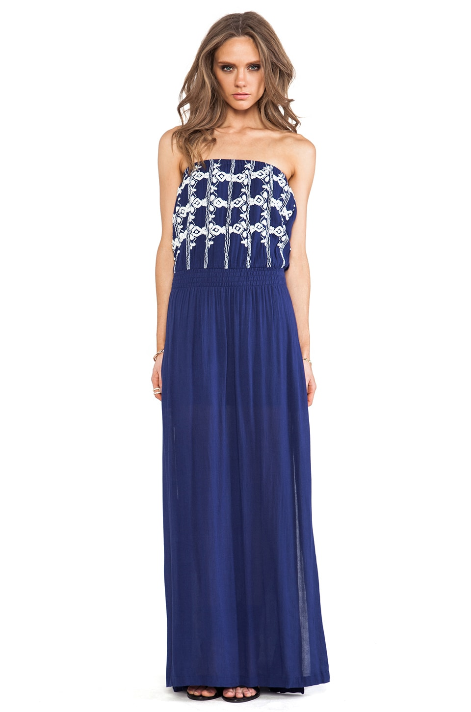 LA Made Strapless Maxi Dress in Navy