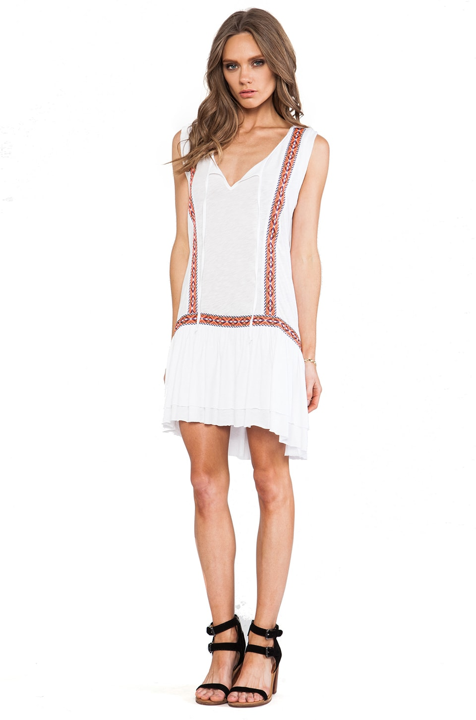 LA Made Tiered Drop Waist Dress in White