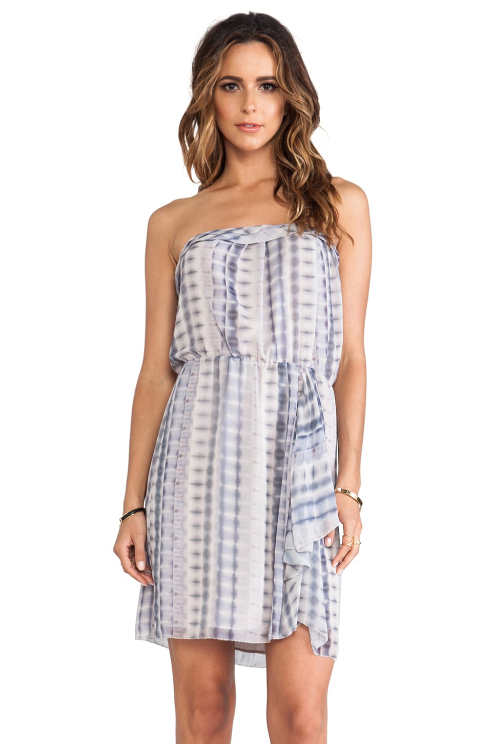 LA Made Strapless Ruffled Dress in Batik Print