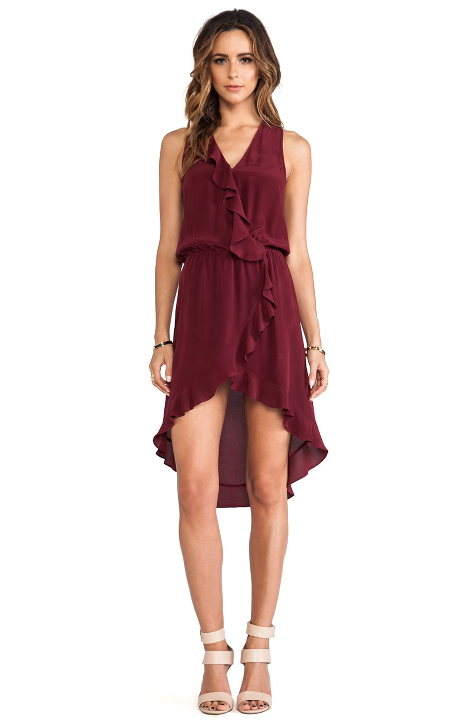 LA Made Ruffled High-Low Midi Dress in Syrah