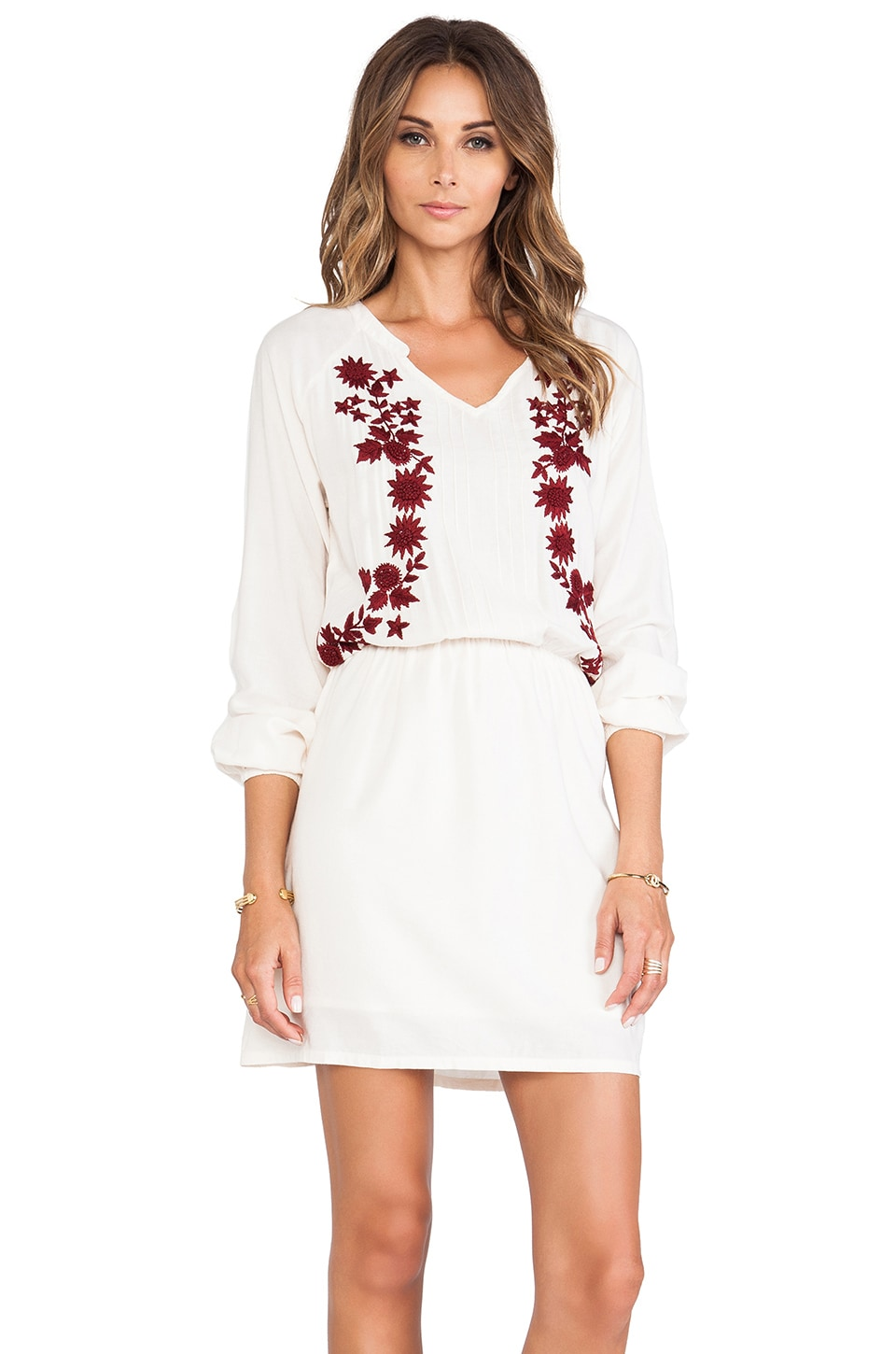 LA Made Embroidered Drop Waist Dress in Birch