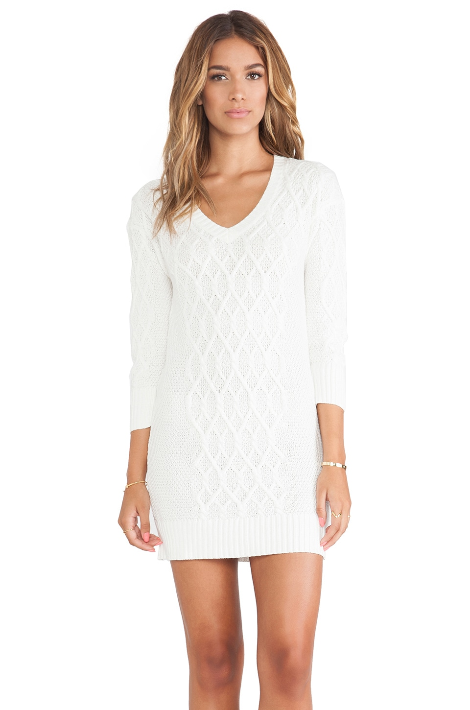 LA Made Sweater Dress in Cream