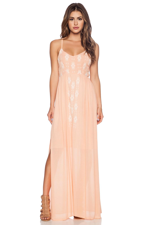 LA Made Mara Embroidered Maxi Dress in Peach