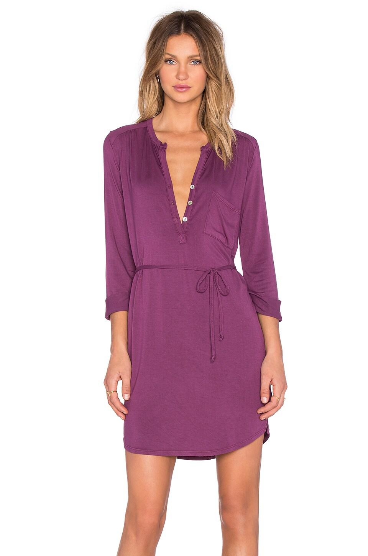 LA Made Henley 3/4 Sleeve Dress in Aubergine