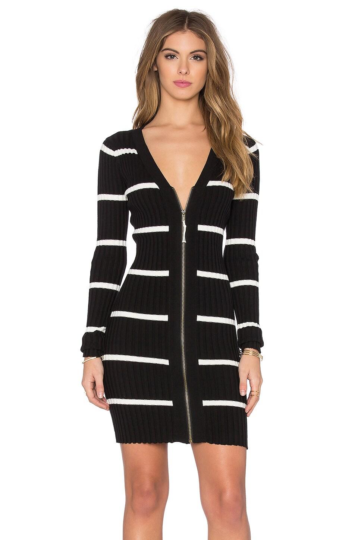 LA Made Eli Deep V Dress in Black & Egret Stripe