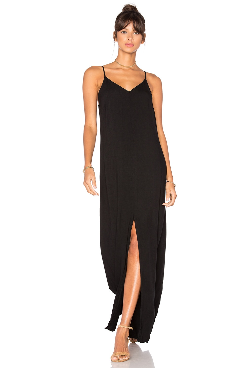 LA Made Kate Slip Dress in Black