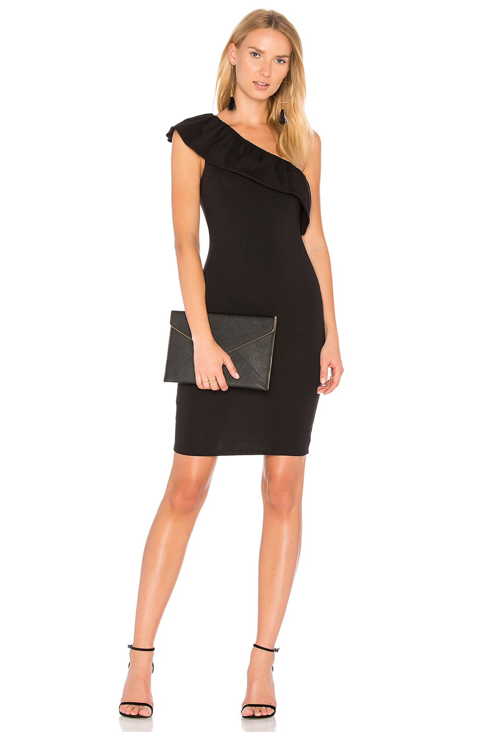 LA Made Felicity One Shoulder Dress in Black | REVOLVE