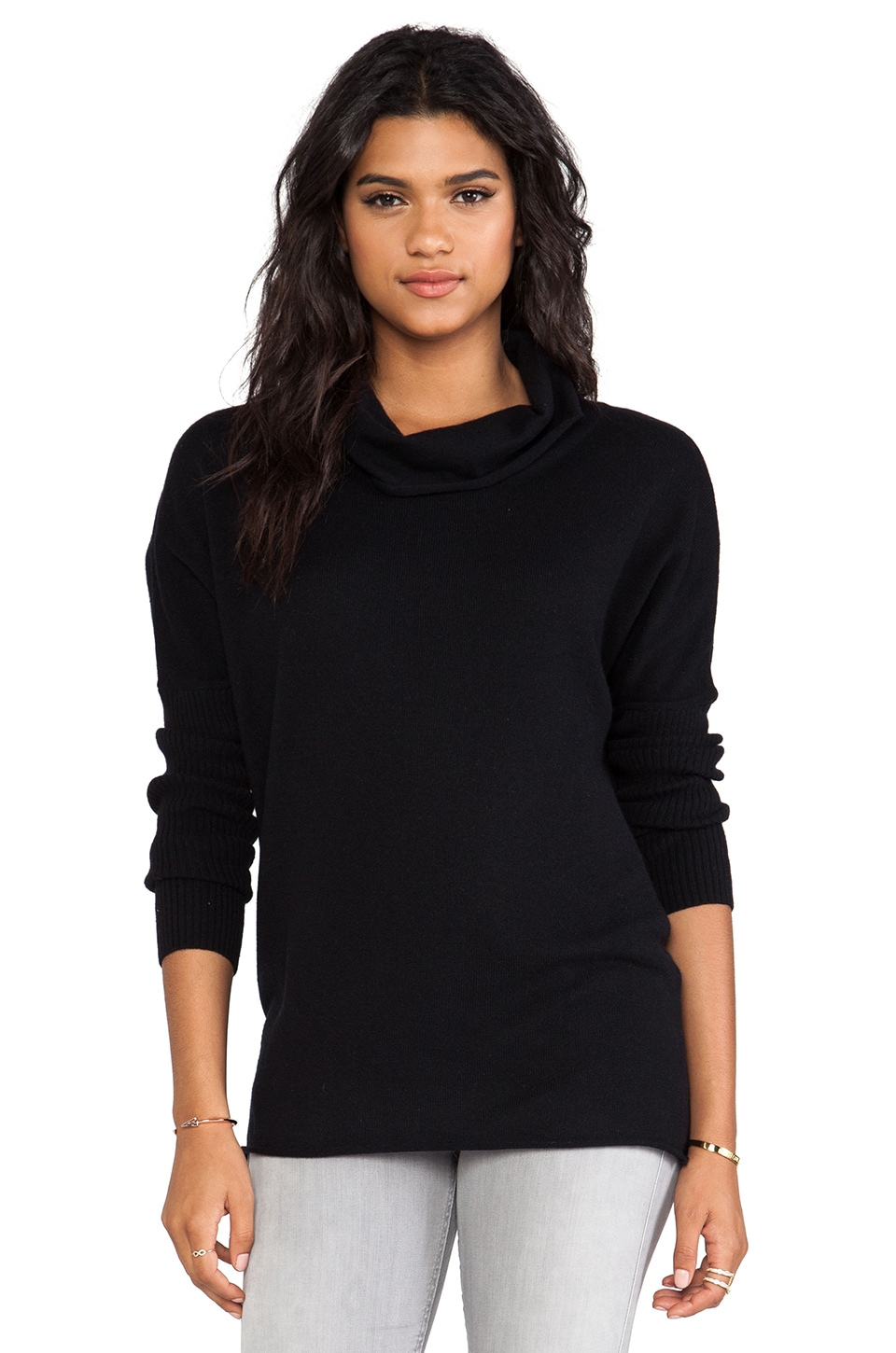 LA Made Drop Shoulder Cowl Neck Top in Black