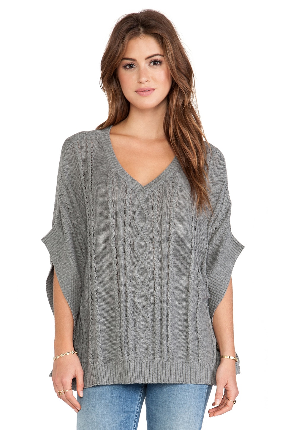 LA Made Boxy Cut Poncho in Heather Gray