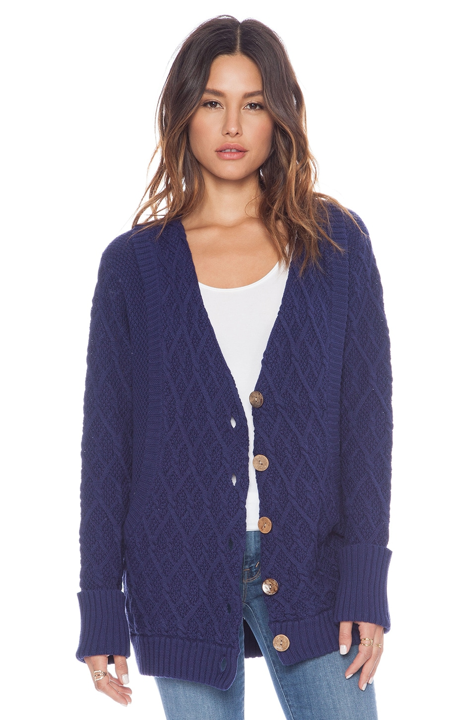 LA Made Button Cardigan in Ink Blot
