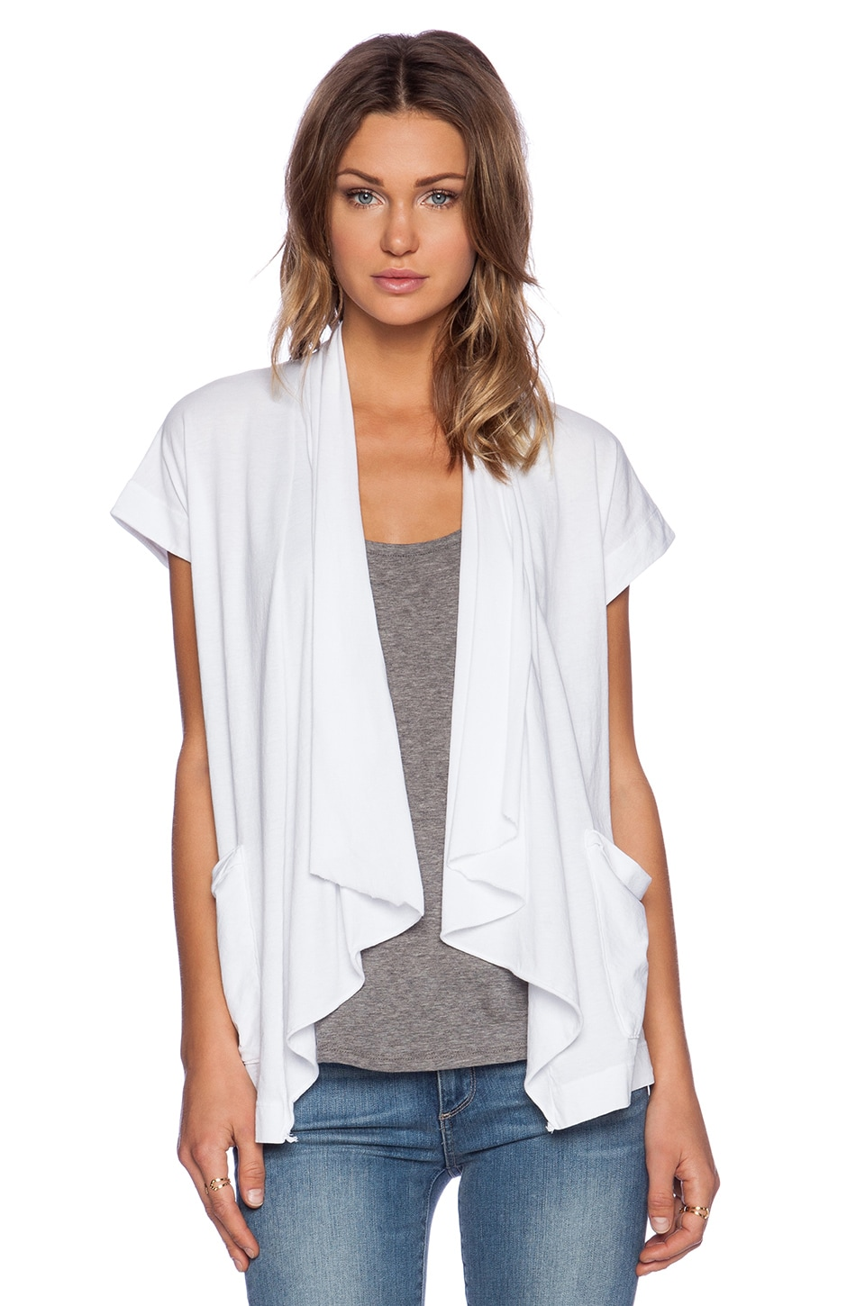 LA Made Remi Short Sleeve Cardigan in White