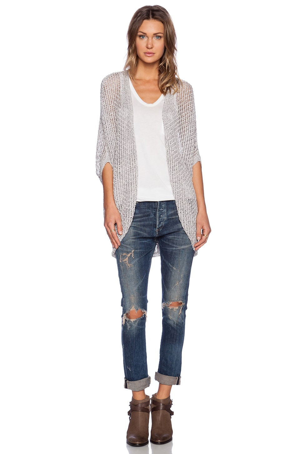 LA Made Marbel Cocoon Cardigan in Salt & Pepper | REVOLVE