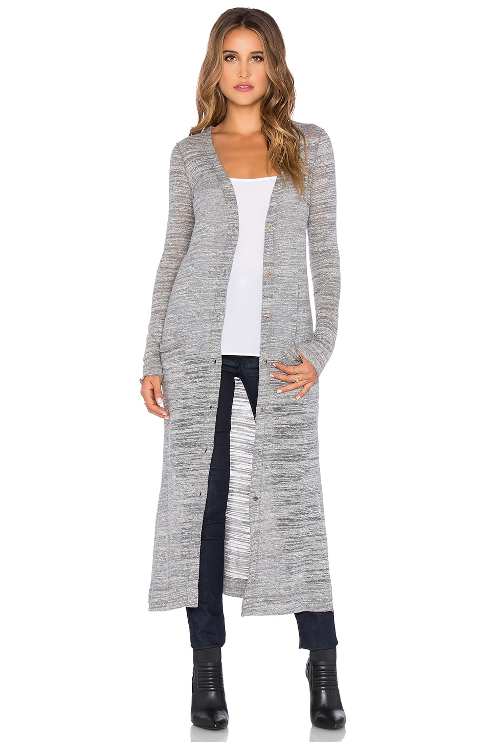 LA Made Cozy Slub Veneto Extra Long Cardigan in Stone | REVOLVE