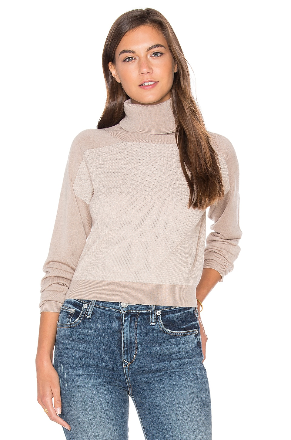 LA Made Trish Cropped Sweater in Camel Combo