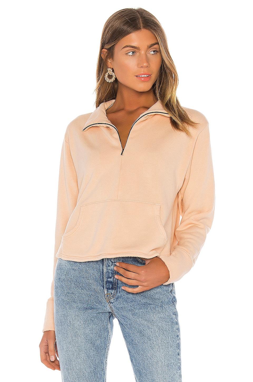 LA Made Bello Half Zip Sweatshirt in Makeup Pink