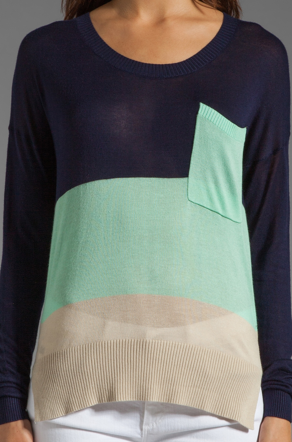 LA Made Colorblock Long Sleeve Sweater in Galaxy/Minty