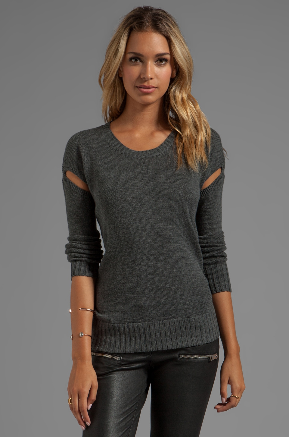 LA Made Crew Neck Sweater with Cut-Out Detail in Anthracite