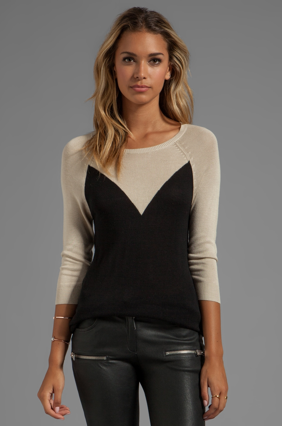 LA Made 3/4 Sleeve Crew Neck Tunic in Black/Cream