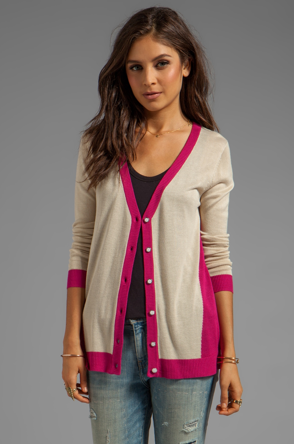 LA Made Cardigan with Contrast Bands in Cream Scarlet