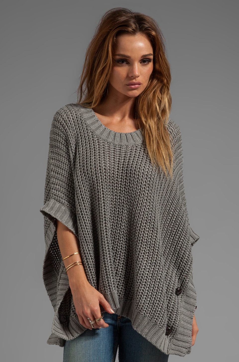LA Made Jersey Knit Poncho Sweater in Heather Grey