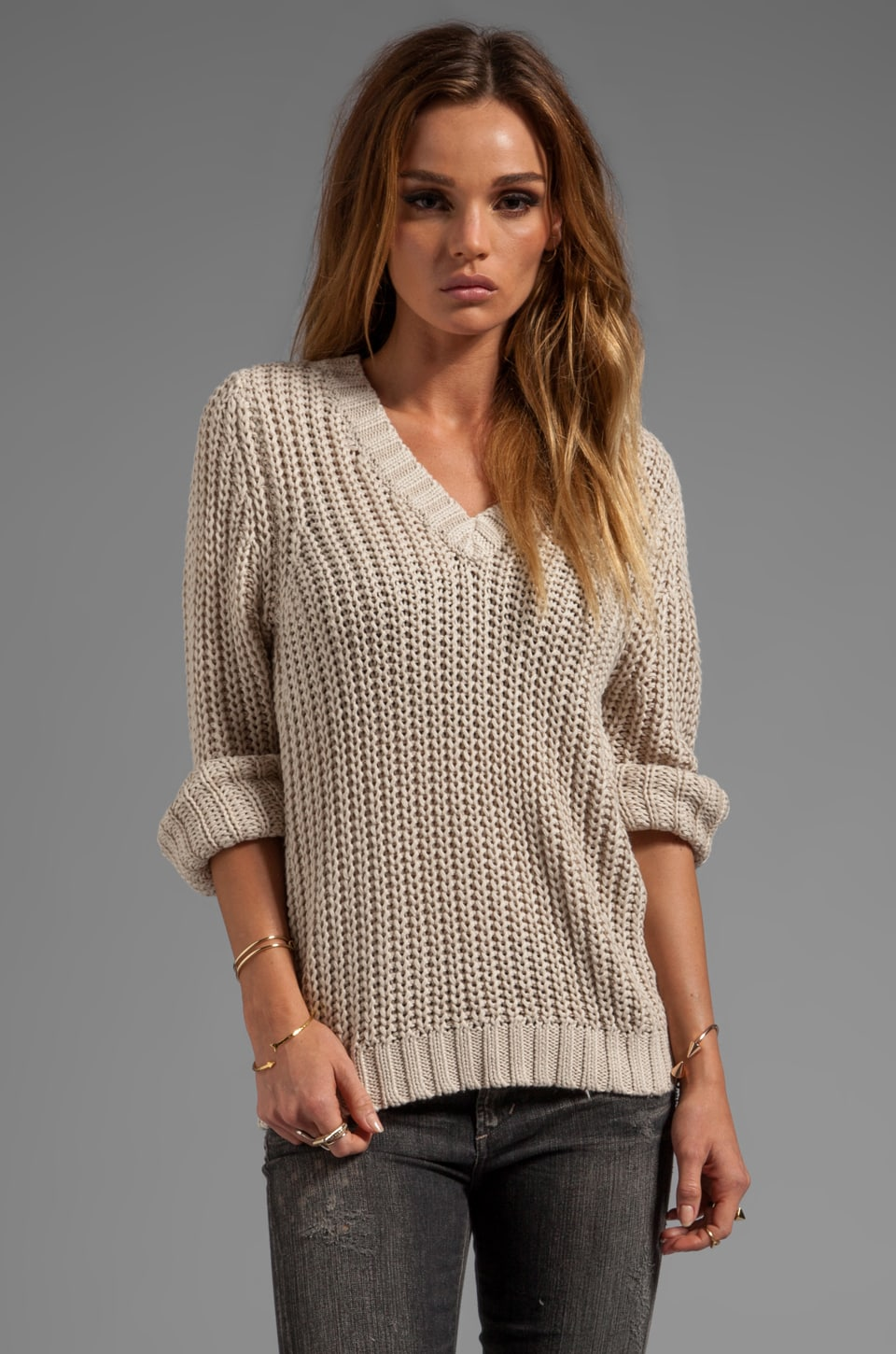 LA Made Jersey Knit Bell Sleeve V-Neck Sweater in Oatmeal