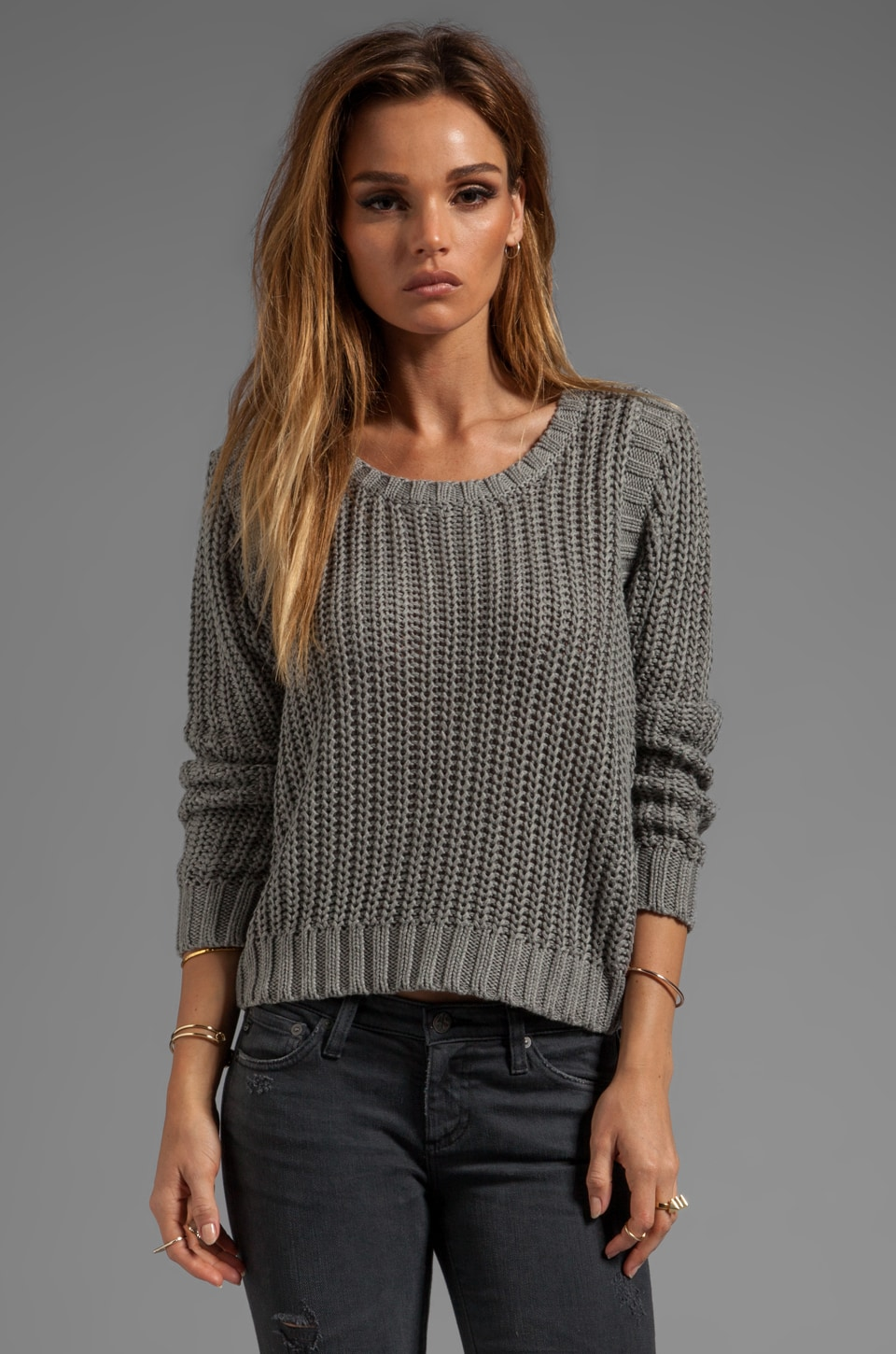 LA Made Jersey Knit Crew Neck Sweater in Heather Grey