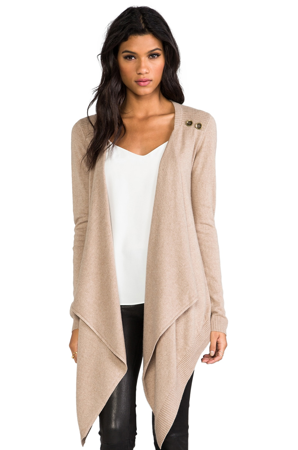 LA Made Cashmere Silk Sweater Button Drape Cardi Sweater in Oatmeal