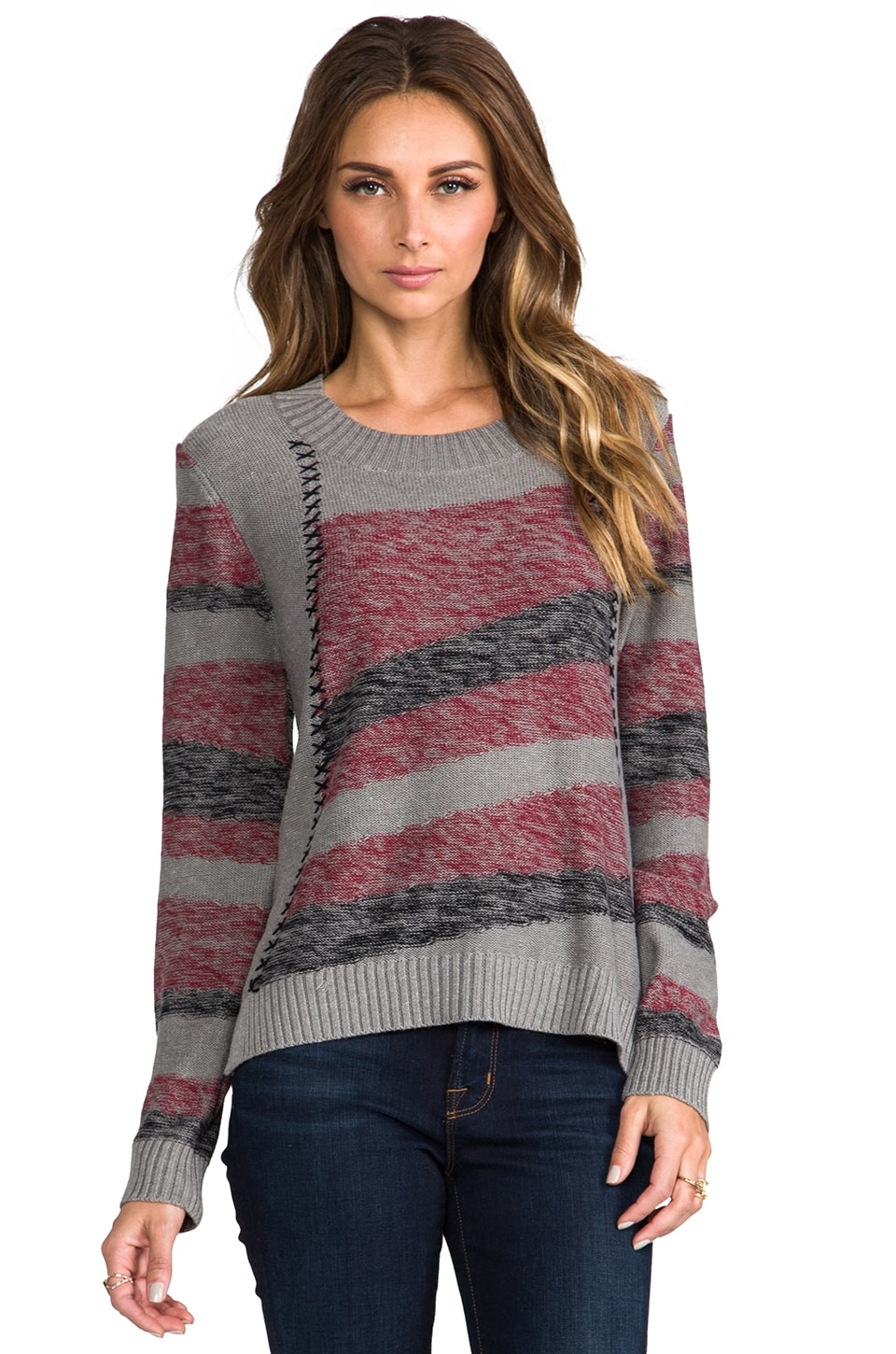 LA Made Intarsia Stripe Sweater in Rouge