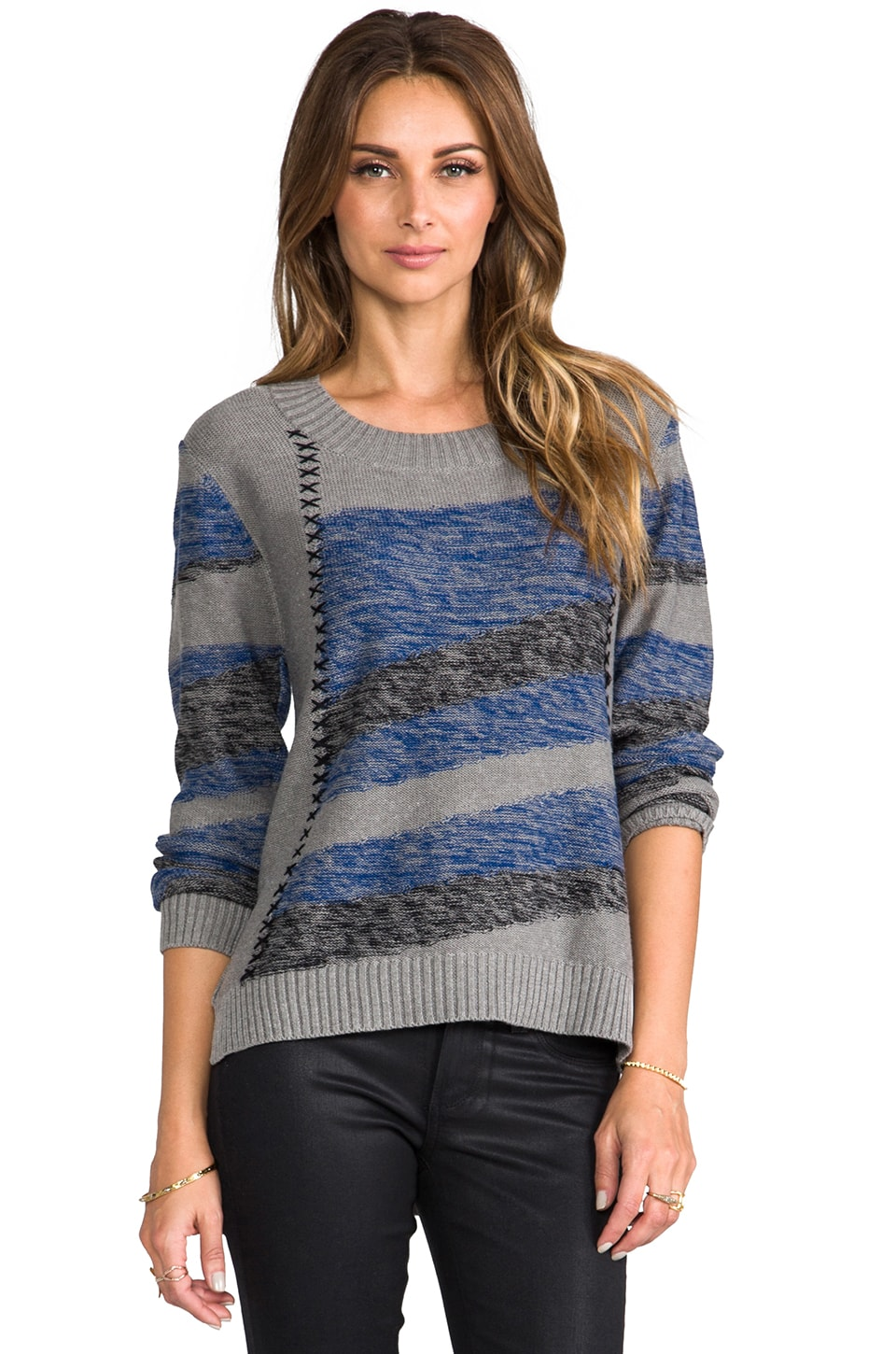 LA Made Intarsia Stripe Sweater in Tahoe