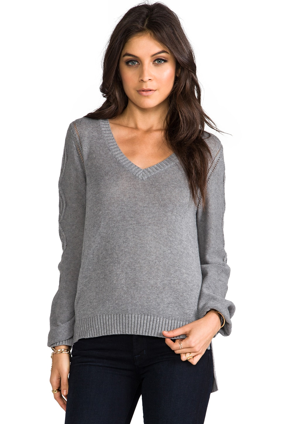 LA Made Cable V Neck Hi Lo Sweater in Heather Grey