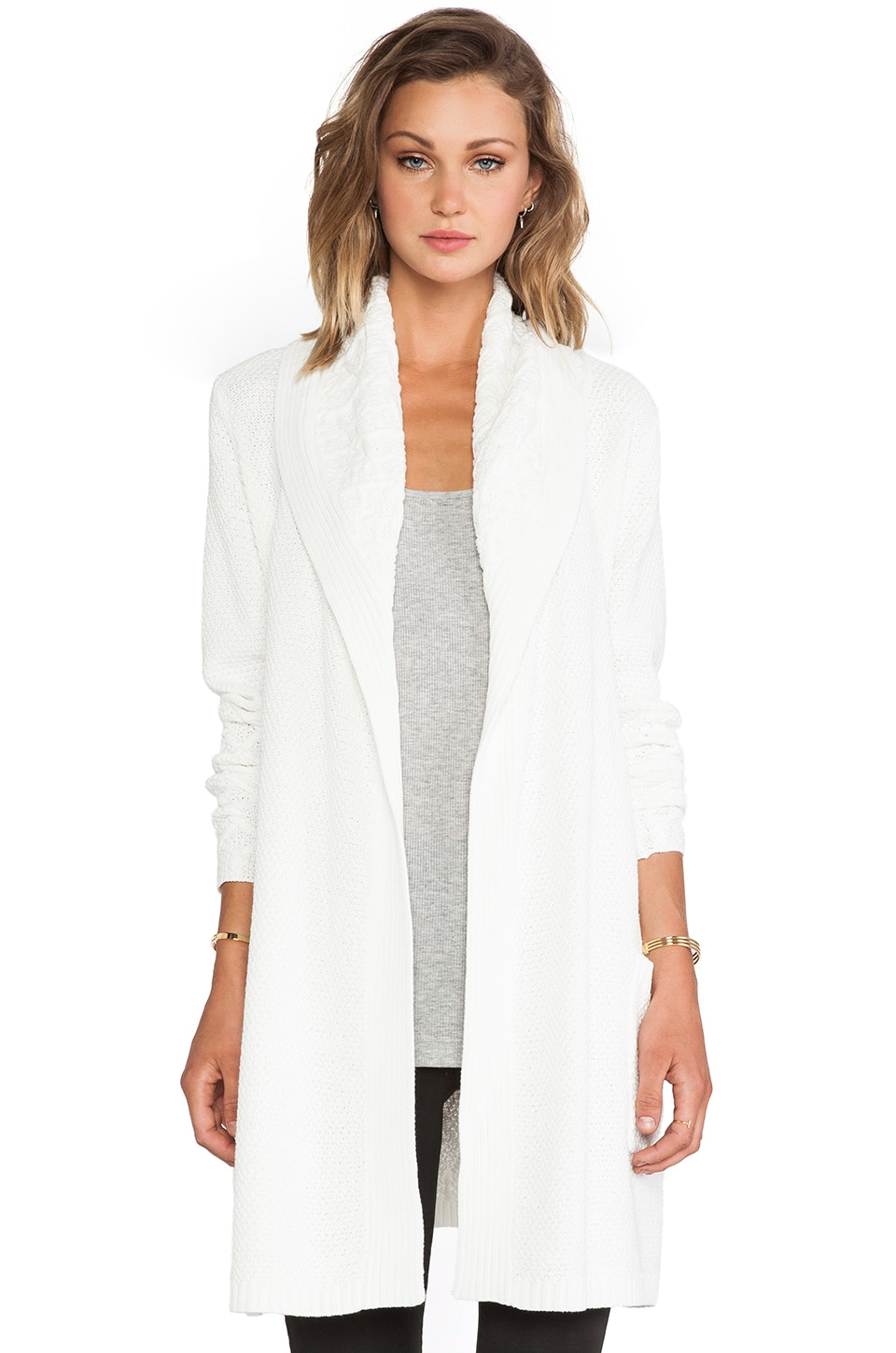 LA Made Shawl Collar Trench Cardigan in Cream