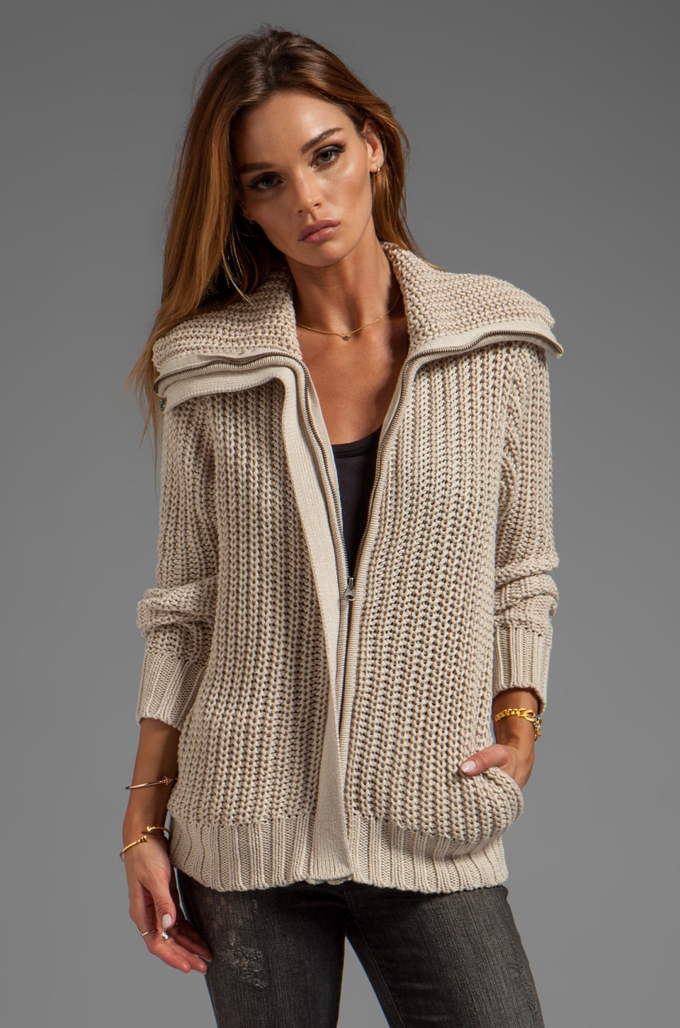 LA Made Jersey Knit Zip Jacket in Oatmeal