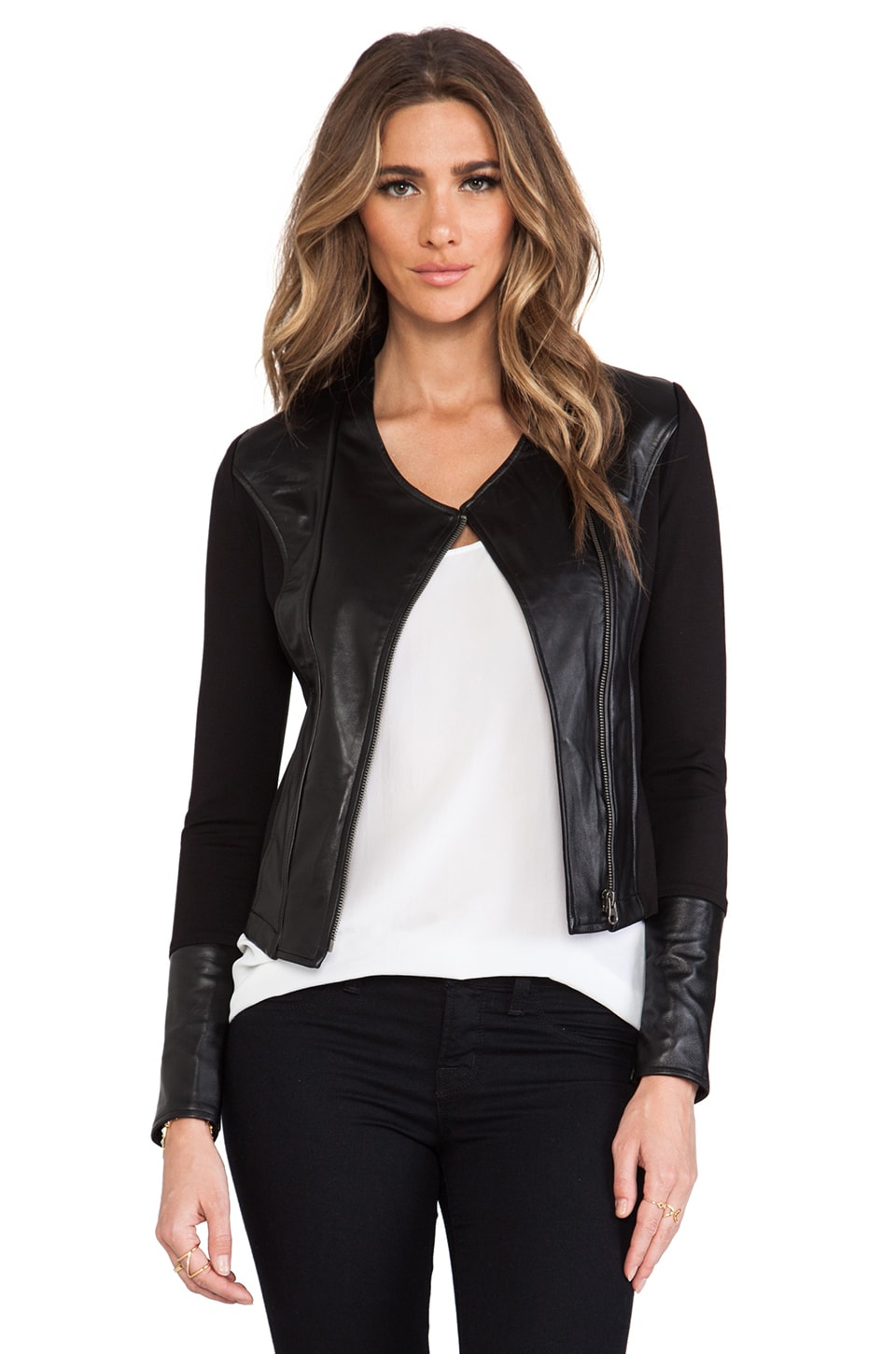 LA Made Lambskin Contrast Jacket in Black