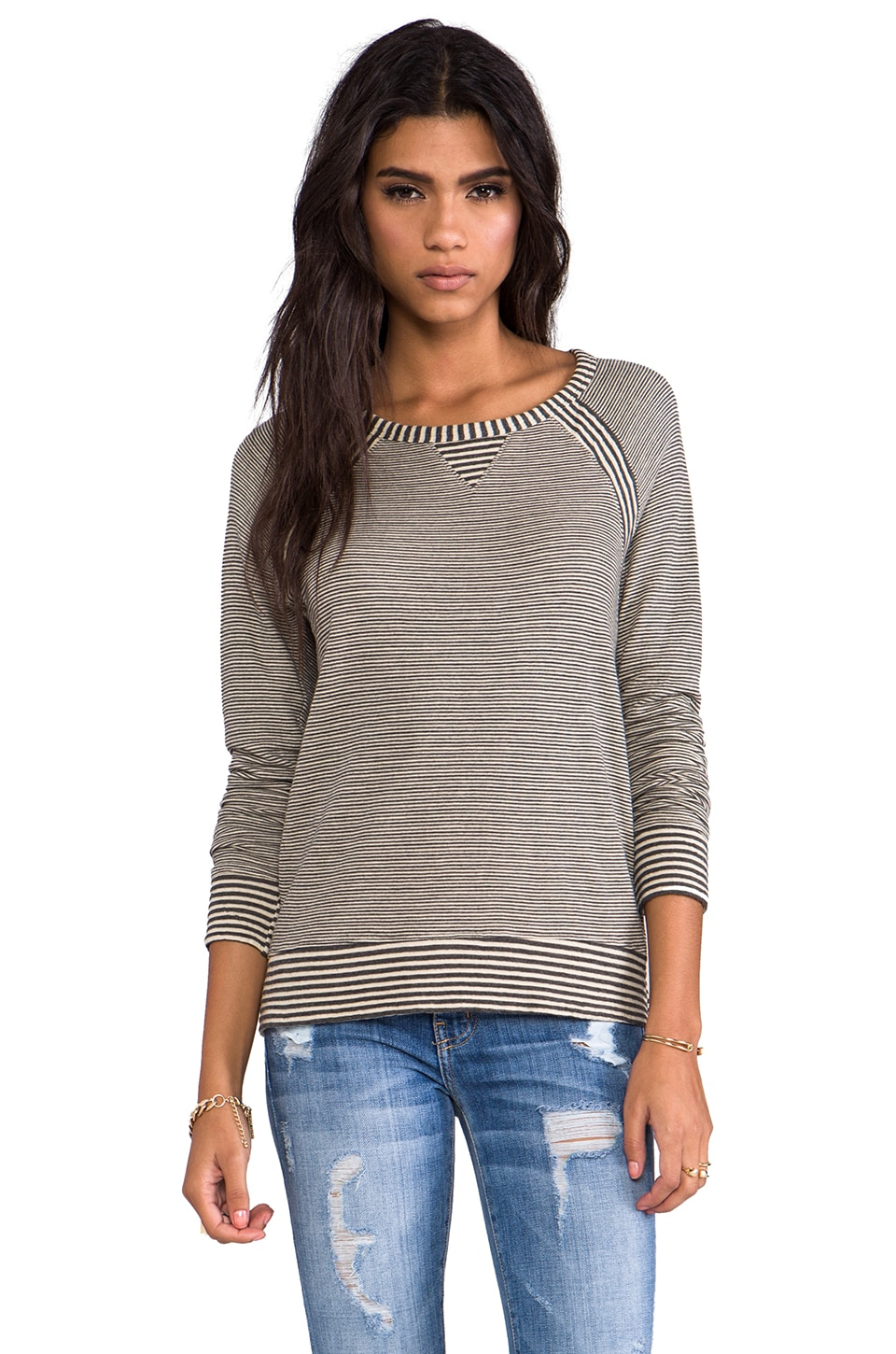 LA Made Stripe Double Knit Boatneck Raglan in Angora