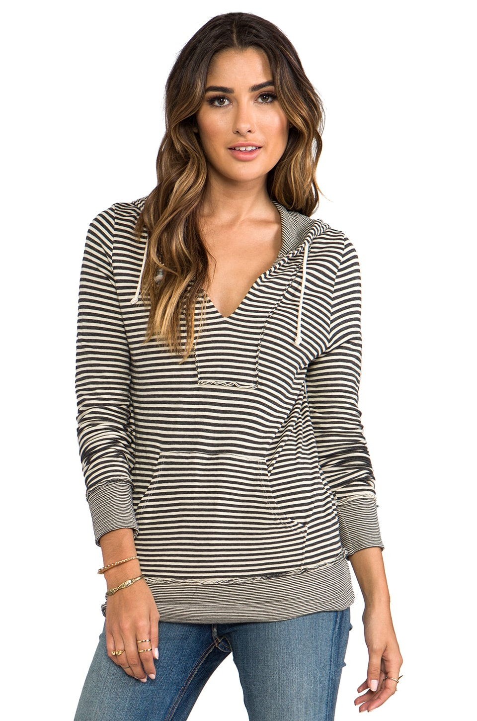 LA Made Stripe Double Knit Pullover Hoodie in Angora