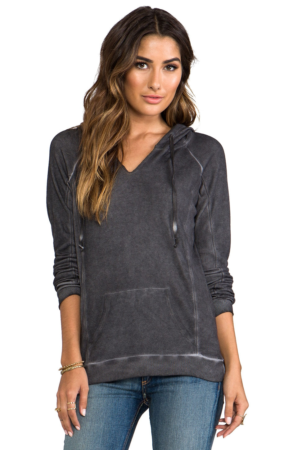 LA Made Antique Wash Thermal Long Sleeve Raglan Hoodie in Raven