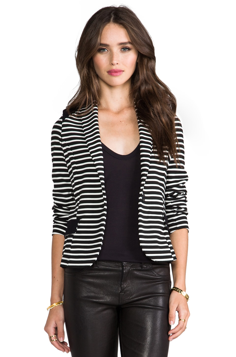 LA Made Colorblocked Blazer in Stripe & Black