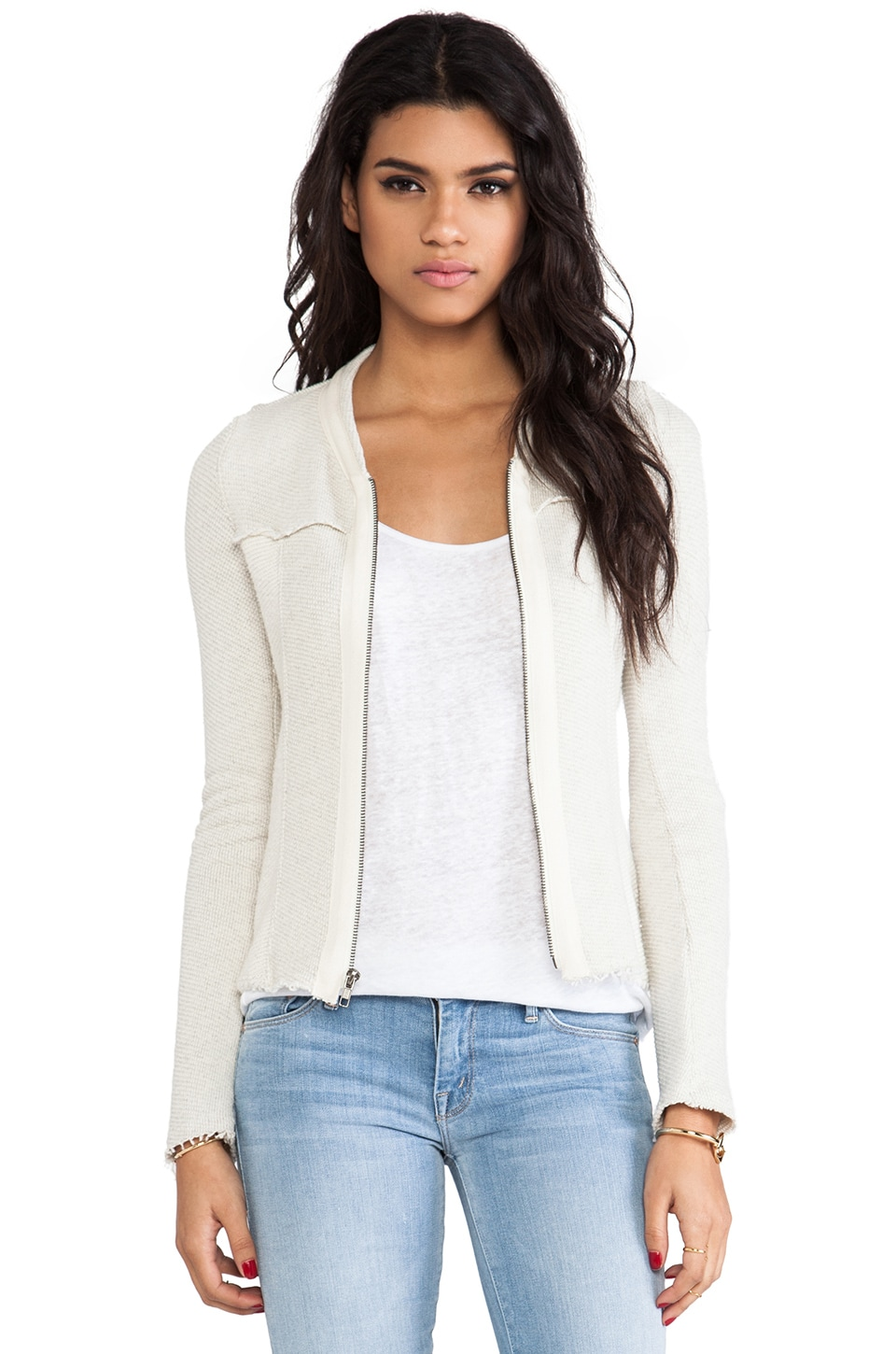 LA Made Two-Tone Zip Front Jacket in Heather Grey